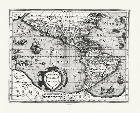 "Mercator et Hondius, Americae descrip., 1607, map on heavy cotton canvas, 20 x 25"" approx"