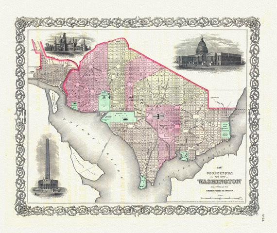 """Georgetown And The City Of Washington, 1857, map on heavy cotton canvas, 20x25"""" approx."""