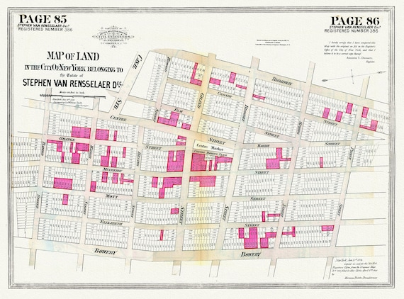 """NYC, Original Development (Cadestral) Map, Pages 85-86, S. van Rensselare, 1839, map on heavy cotton canvas, 20 x 25"""" approx."""