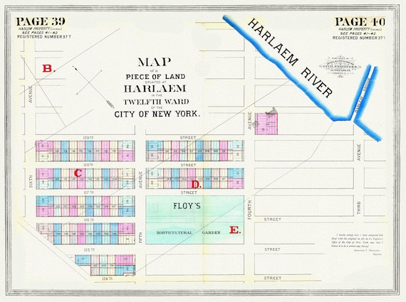 """NYC, Original Development (Cadestral) Map, Pages 39-40, Harlaem, 12th Ward, 1872 , map on heavy cotton canvas, 20 x 25"""" approx."""