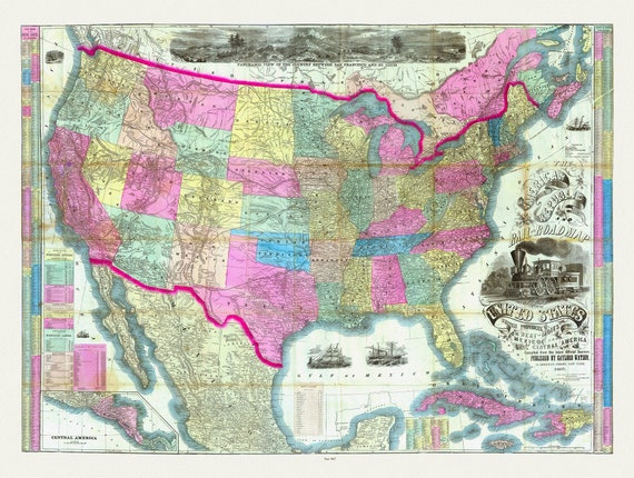 """Watson, The American Republic and Rail-Road map of the United States, 1867, map on heavy cotton canvas, 20 x 25"""" approx."""