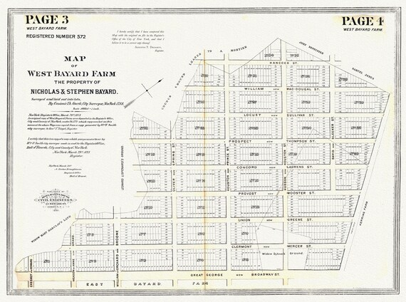 "NYC, Original Development (Cadestral) Map, Page 3-4 West Bayard Farm, 1788, map on heavy cotton canvas, 20 x 25"" approx."