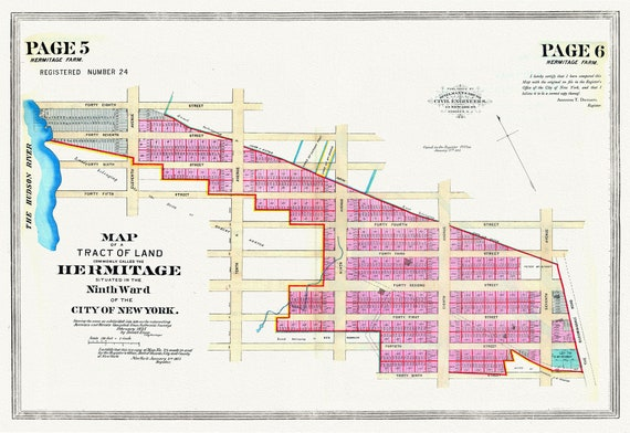 """NYC, Original Development (Cadestral) Map, Page 5-6 Hermitage Farm, 1873, map on heavy cotton canvas, 20 x 25"""" approx."""