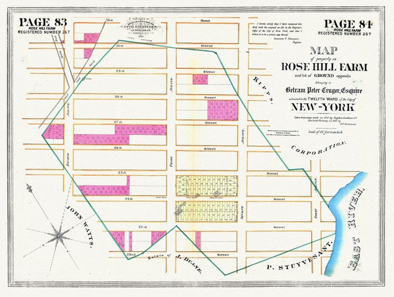 """NYC, Original Development (Cadestral) Map, Pages 83-84, Rose Hill Farm, 1827, map on heavy cotton canvas, 20 x 25"""" approx."""