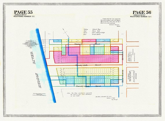 """NYC, Original Development (Cadestral) Map, Pages 55-56, Cornelius Ray, 1844 , map on heavy cotton canvas, 20 x 25"""" approx."""