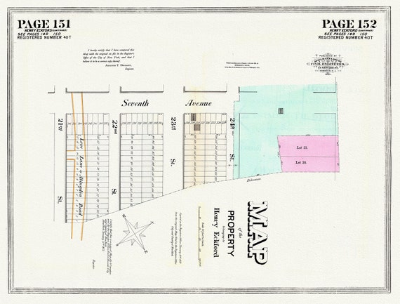 """NYC, Original Development (Cadestral) Map, Pages151-152, Eckford, 1873, map on heavy cotton canvas, 20 x 25"""" approx."""