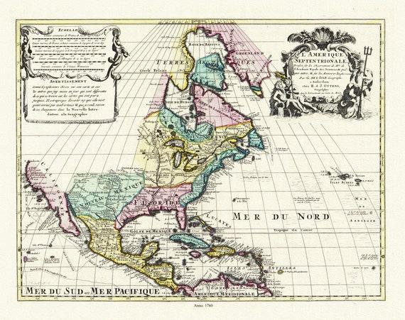 """Delisle et Ottens, L'Amérique septentrionale,  1760, map on heavy cotton canvas, 20 x 25"""" approx."""