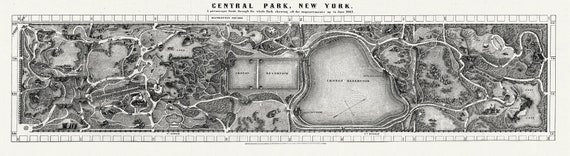 """New York, Central Park, 1865 , map on heavy cotton canvas, 13 x 27"""" approx."""