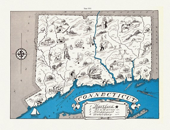 """Connecticut, 1931, map on heavy cotton canvas, 20 x 25"""" approx."""