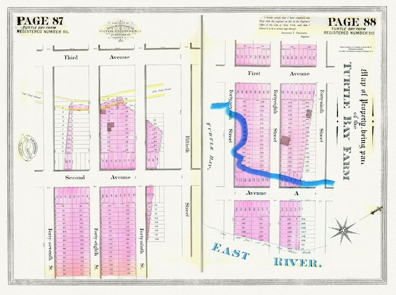 """NYC, Original Development (Cadestral) Map, Pages 87-88, Turtle Bay Farm, 1839 , map on heavy cotton canvas, 20 x 25"""" approx."""