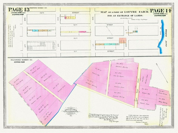 """NYC, Original Development (Cadestral) Map, Page 13-14, Part of the Louvre Farm, 1860, map on heavy cotton canvas, 20 x 25"""" approx."""