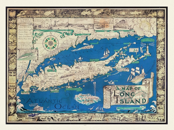"""A Map of Long Island by Richard Foster,1961, map on heavy cotton canvas, 20 x 25"""" approx."""