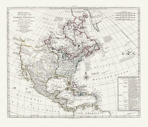 """Bowles's new pocket map of North America, divided into it's provinces, colonies, states, 1784 , map on heavy cotton canvas, 20 x 25"""" approx."""