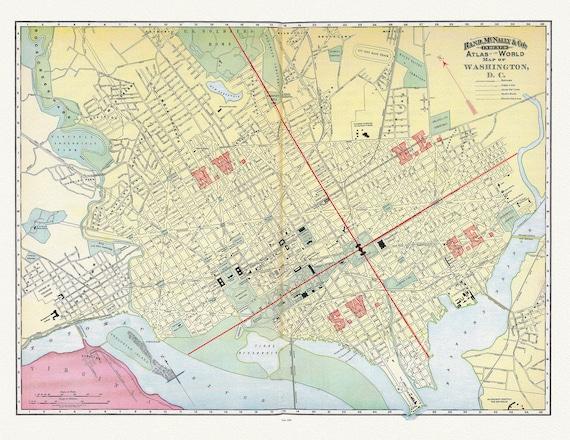 "Washington D.C., Rand, McNally & Co., 1890 , map on heavy cotton canvas, 20x25"" approx."