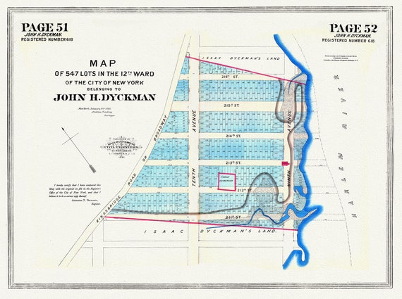 """NYC, Original Development (Cadestral) Map, Pages 51-52, John Dykman, 1796 , map on heavy cotton canvas, 20 x 25"""" approx."""