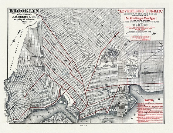 """Brooklyn, 1874, map on heavy cotton canvas, 20 x 25"""" approx."""