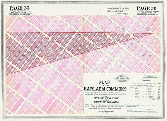 """NYC, Original Development (Cadestral) Map, Pages 35-36, Harlaem Commons, 1824 Part II , map on heavy cotton canvas, 20 x 25"""" approx."""
