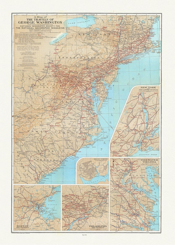 """George Washington, A Map of His Travels, 1931 , on heavy cotton canvas, 20x25"""" approx."""