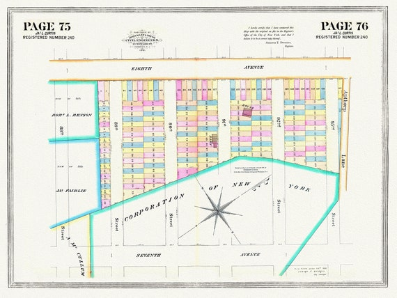 """NYC, Original Development (Cadestral) Map, Pages 75-76, J.L. Curtis, 1838, map on heavy cotton canvas, 20 x 25"""" approx."""