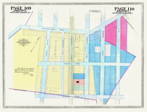 """NYC, Original Development (Cadestral) Map, Pages 109-110, Manhattanville, 1806 Part II, map on heavy cotton canvas, 20 x 25"""" approx."""