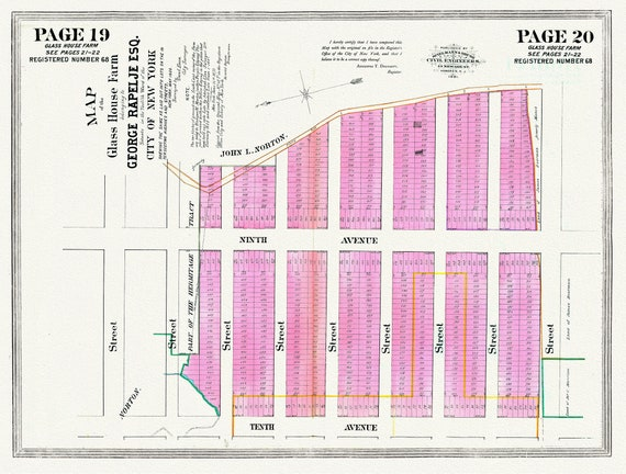"""NYC, Original Development (Cadestral) Map, Pages 19-20, Glass House Farm, 1833, map on heavy cotton canvas, 20 x 25"""" approx."""