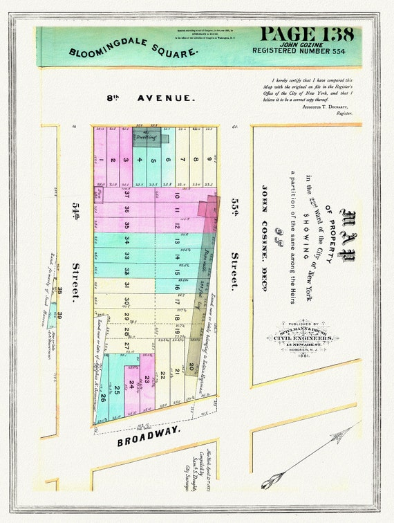 "NYC, Original Development (Cadestral) Map, Page 138, John Cozine, 1846, map on heavy cotton canvas, 20 x 25"" approx."
