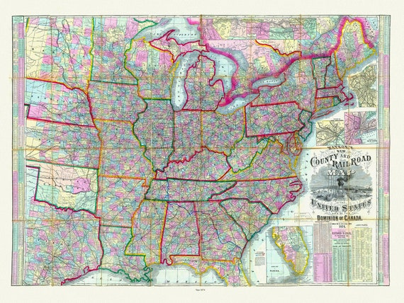 """Watson's New County and Railroad Map of the United States, 1874, map on heavy cotton canvas, 20 x 25"""" approx."""