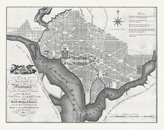 """Plan of Washington, 1800 , map on heavy cotton canvas, 20x25"""" approx."""