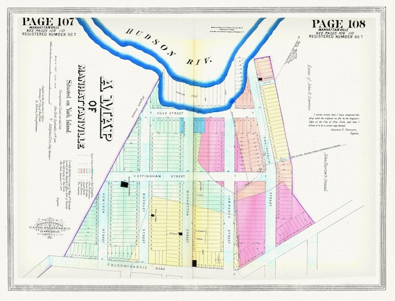 """NYC, Original Development (Cadestral) Map, Pages 107-109, Manhattanville, 1806, map on heavy cotton canvas, 20 x 25"""" approx."""