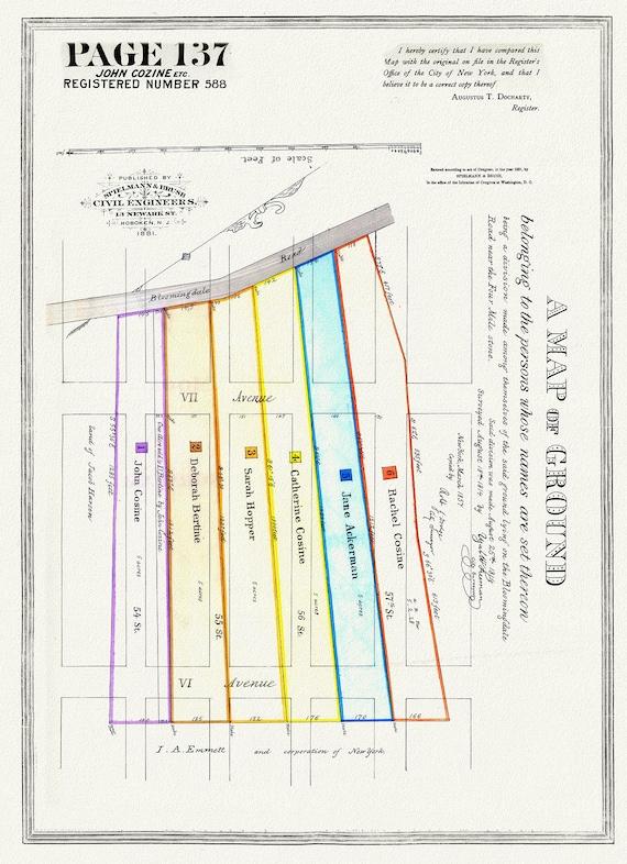 "NYC, Original Development (Cadestral) Map, Page 137, John Cozine, 1814, map on heavy cotton canvas, 20 x 25"" approx."