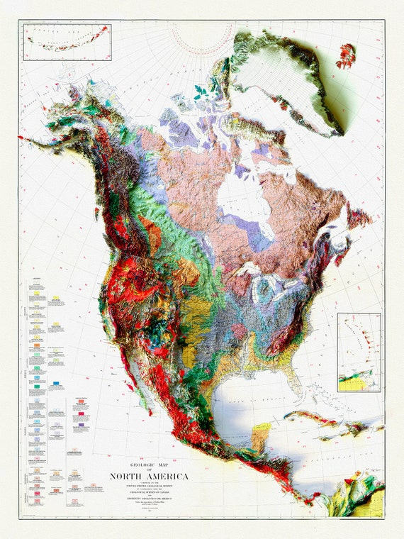 """A Geologic Map of North America, 1911  , map on heavy cotton canvas, 20 x 25"""" approx."""