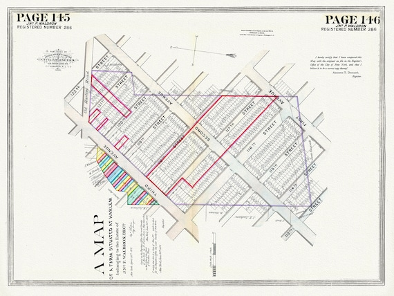 """NYC, Original Development (Cadestral) Map, Pages 145-146, Waldron, 1819 , map on heavy cotton canvas, 20 x 25"""" approx."""