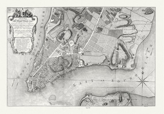 """Kitchin, Plan of the City of New York City, 1767, map on heavy cotton canvas, 20 x 27"""" approx."""