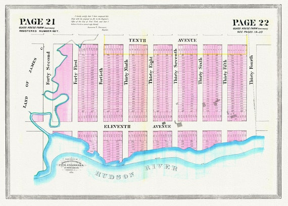 """NYC, Original Development (Cadestral) Map,  Pages 21-22, The Glass House Farm Part II, 1833, map on heavy cotton canvas, 20 x 25"""" approx."""
