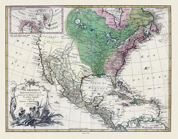 """Covens et Mortier, L'Amérique septentrionale, 1759, map on heavy cotton canvas, 22x27"""" approx."""