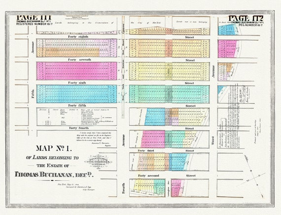 """NYC, Original Development (Cadestral) Map, Pages 111-112, Thomas Buchanan, 1848 , map on heavy cotton canvas, 20 x 25"""" approx."""