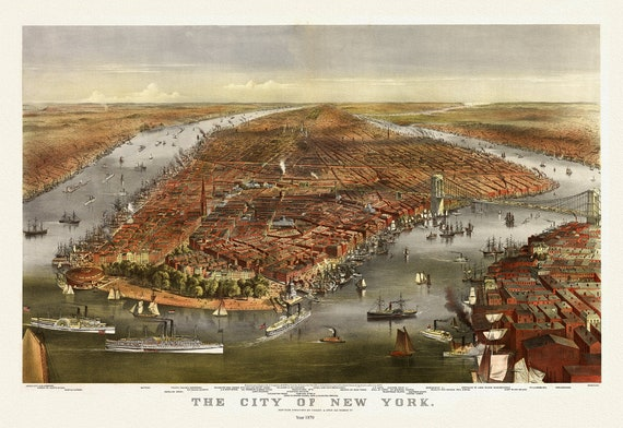 """The City of New York, Currier & Ives, 1870, map on heavy cotton canvas, 20 x 25"""" approx."""