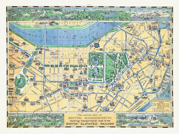"""Boston, Massachusetts, The central part of showing  lines of the Boston Elevated Railway, 1930, map on heavy cotton canvas, 20 x 25"""" approx."""