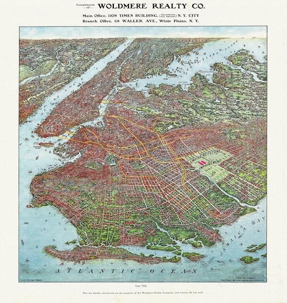 "Brooklyn, Bird's Eye View, 1908  , map on heavy cotton canvas, 20 x 25"" approx."