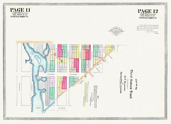 """NYC, Original Development (Cadestral) Map, Page 11-12, 3rd Ave. Tract Part 2, 1852 , map on heavy cotton canvas, 20 x 25"""" approx."""