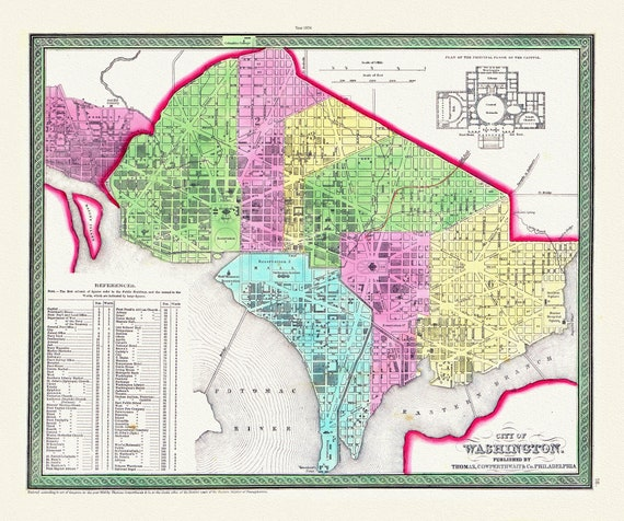 """City of Washington, 1854, map on heavy cotton canvas, 20x25"""" approx."""