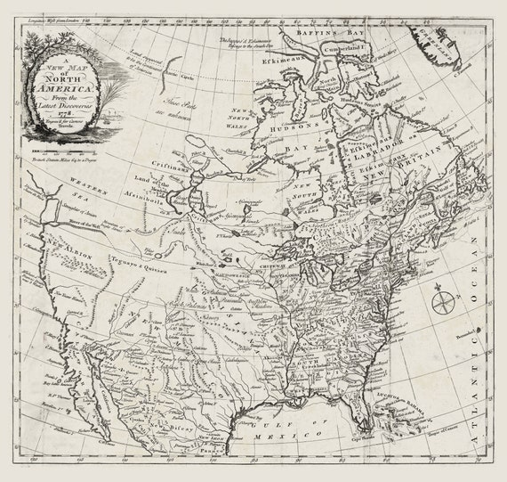 """Carver, A new map of North America, from the latest discoveries, 1778, map on heavy cotton canvas, 20 x 25"""" approx."""