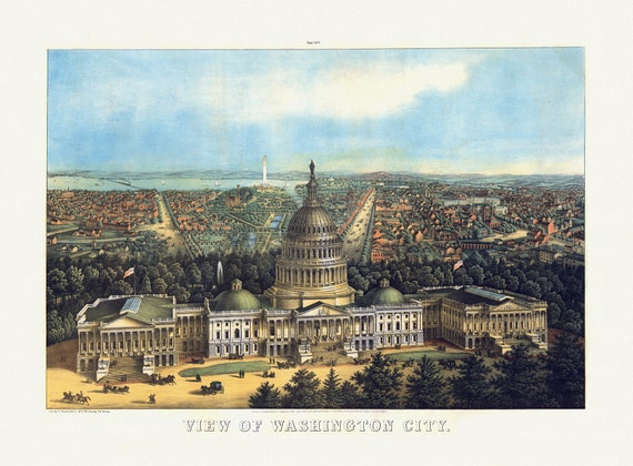 """View of Washington City, 1871 , map on heavy cotton canvas, 20x25"""" approx."""