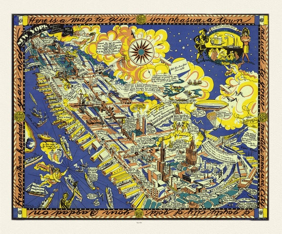 """A Map of New York, Published by the Washington Square Bookshop, 1925 , map on heavy cotton canvas, 20 x 25"""" approx."""