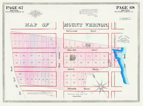 """NYC, Original Development (Cadestral) Map, Pages 67-68, Mount Vernon, 1826 , map on heavy cotton canvas, 20 x 25"""" approx."""