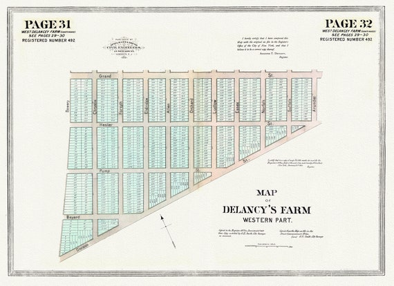 """NYC, Original Development (Cadestral) Map, Pages 31-32, West Delancey Farm, 1873 Part II , map on heavy cotton canvas, 20 x 25"""" approx."""