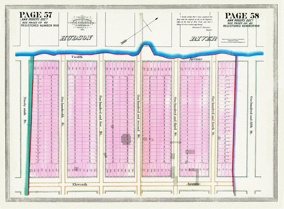 """NYC, Original Development (Cadestral) Map, Pages 57-58, Ann Rogers, 1834, map on heavy cotton canvas, 20 x 25"""" approx."""