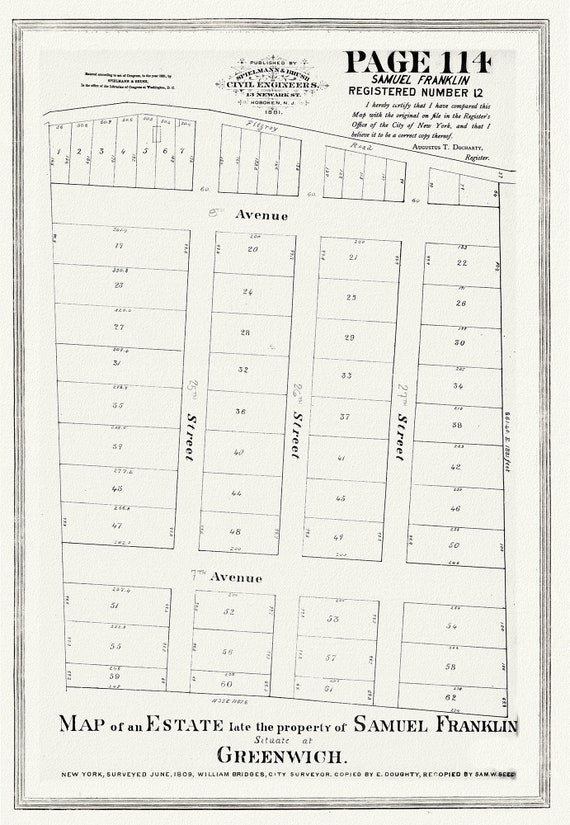 """NYC, Original Development (Cadestral) Map, Page 114 Samuel Franklin, 1809, map on heavy cotton canvas, 20 x 25"""" approx."""