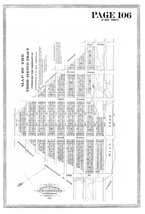"""NYC, Original Development (Cadestral) Map, Page 106, Third Ave. Tract, 1825 , map on heavy cotton canvas, 20 x 25"""" approx."""