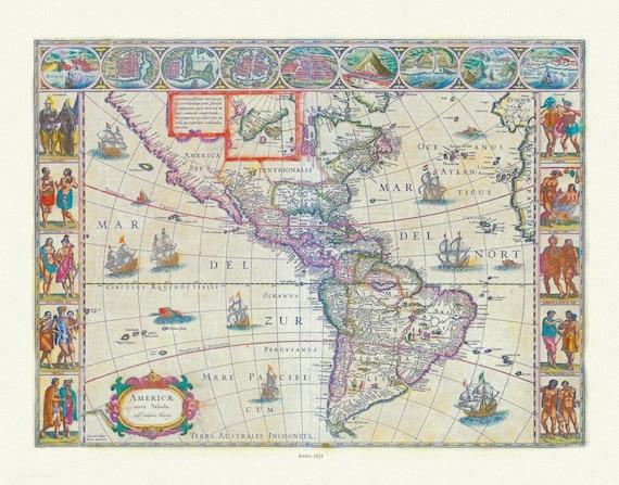"Blaue, Americae Nova Tabula, 1635, map on heavy cotton canvas, 20 x 25"" approx."